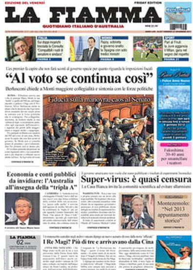 LA FIAMMA newspaper cover