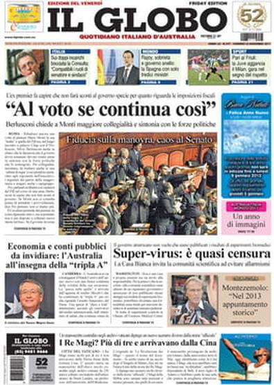 IL GLOBO newspaper cover
