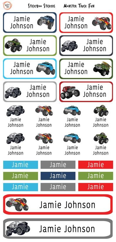 Monster Truck Fun Personalised Stickers cover