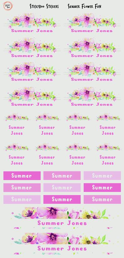 Summer Flower Fun Personalised Stickers cover