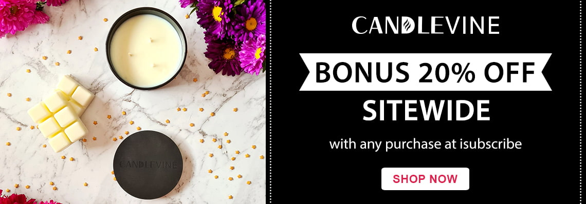 20% off sitewide at Candlevine with every order at isubscribe
